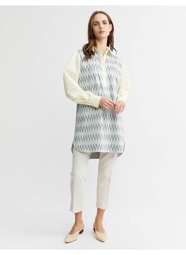 BGN Vıskon Karısım Jakarlı Örme Detaylı Gömlek-Tunık Mavi